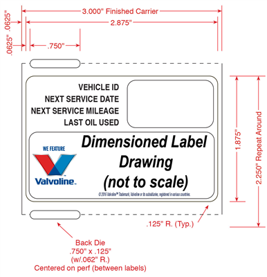 "2.875"" x 1.875"" Valvoline Labels"