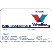 Valvoline Manual (Handwritten) Labels